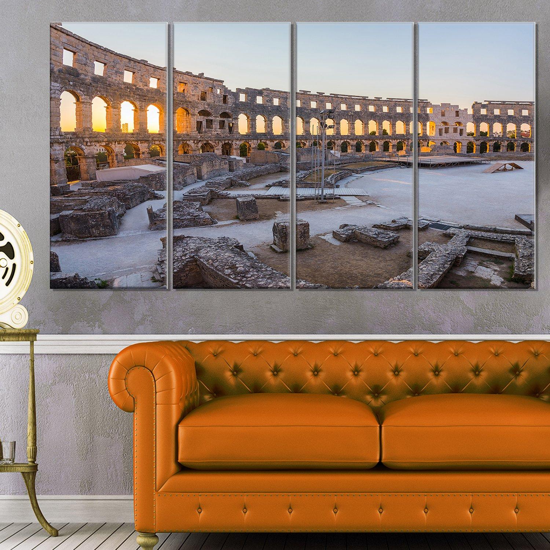 Designart Inside Ancient Roman Amphitheater Landscape Glossy Metal Wall Art 32 H/x/60 W/x/1 D 5PD Blue