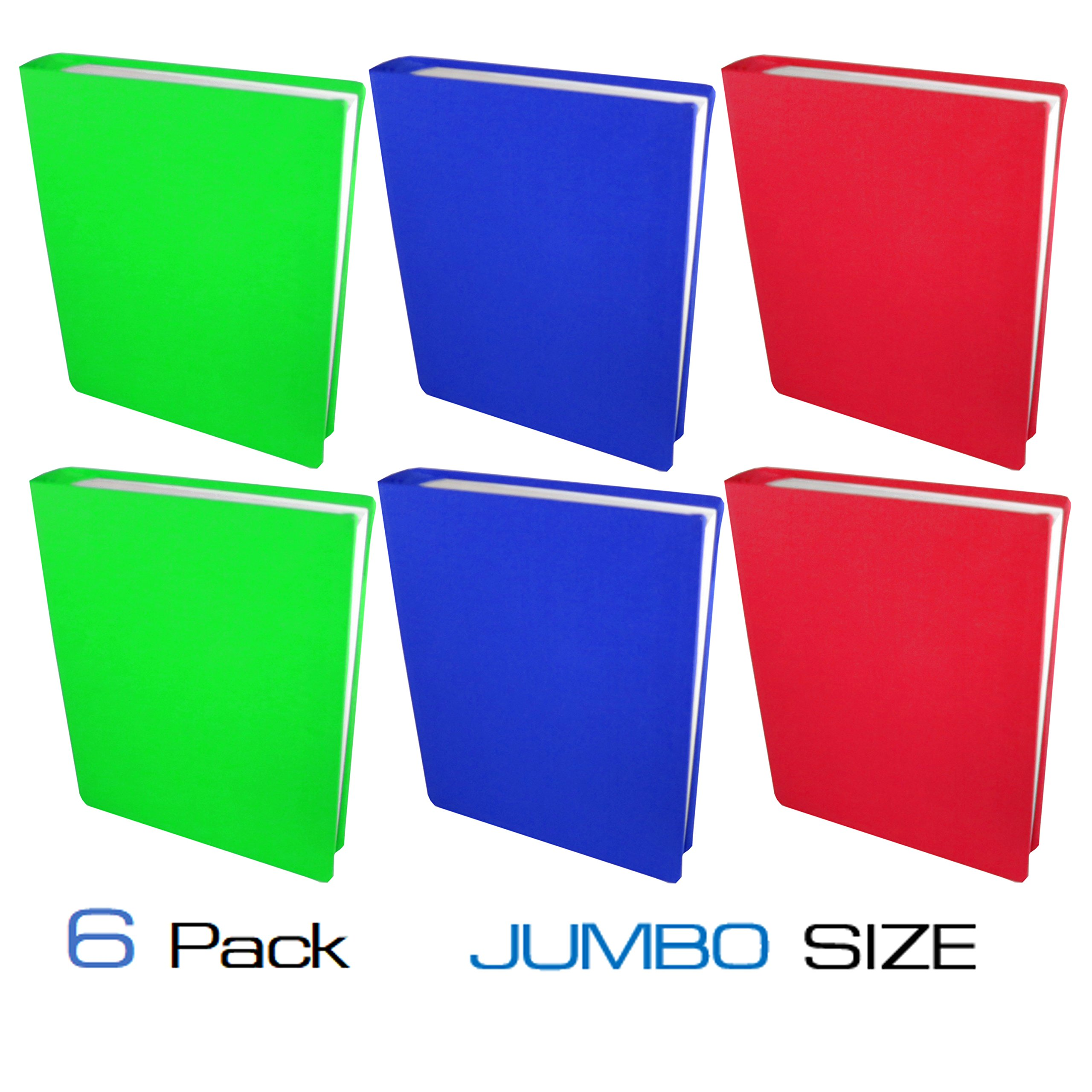 School Bell Supplies 6 Pack Jumbo Size Stretchable Book Covers: Easy to Apply, Reusable, Washable, Fits Hardcover Books/Textbooks from 8'' x 9.5'' up to 10'' x 15''