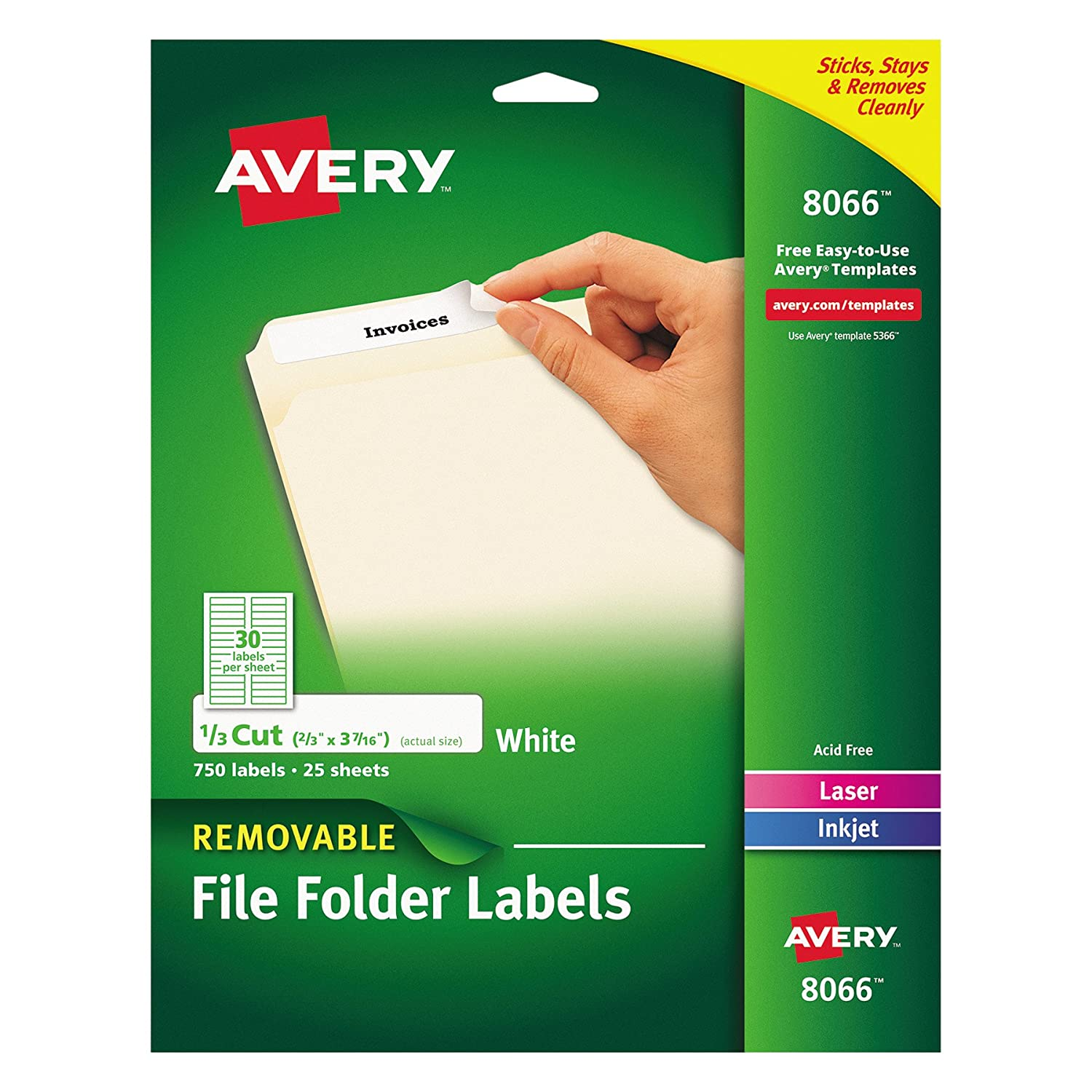 Amazon Avery Removable White File Folder Labels 750 Pack