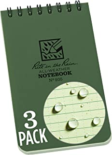 """product image for Rite in the Rain Weatherproof Top-Spiral Notebook, 3"""" x 5"""", Green Cover, Universal Pattern, 3 Pack (No. 935-3)"""