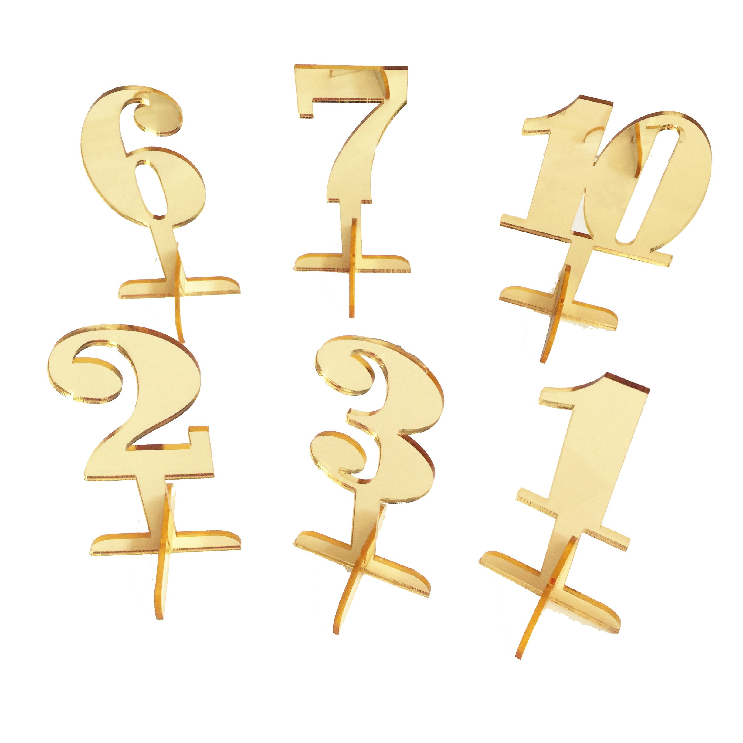 iEventStar Wedding Table Number Numbers with Holder Base for Wedding Table Events (Mirror Gold, 10)