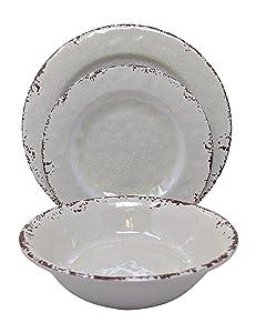 Gianna's Home 12 Piece Rustic Farmhouse Melamine Dinnerware Set, Service for 4 (New Ivory)