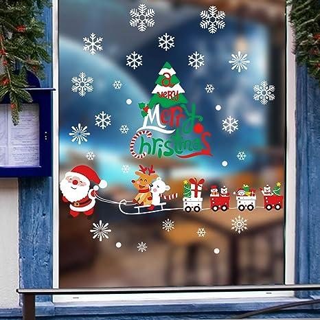 Samber Autocollant Stickers No/ël Fen/être Vitrine Mural D/écoration No/ël R/éutilisable Arbre de No/ël Bonhomme de Neige Flocon Renne E