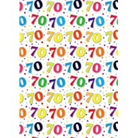 Simon Elvin 24 Sheets 70th Birthday Gift Wraps (UK Size: One Size) (White/Multicoloured)
