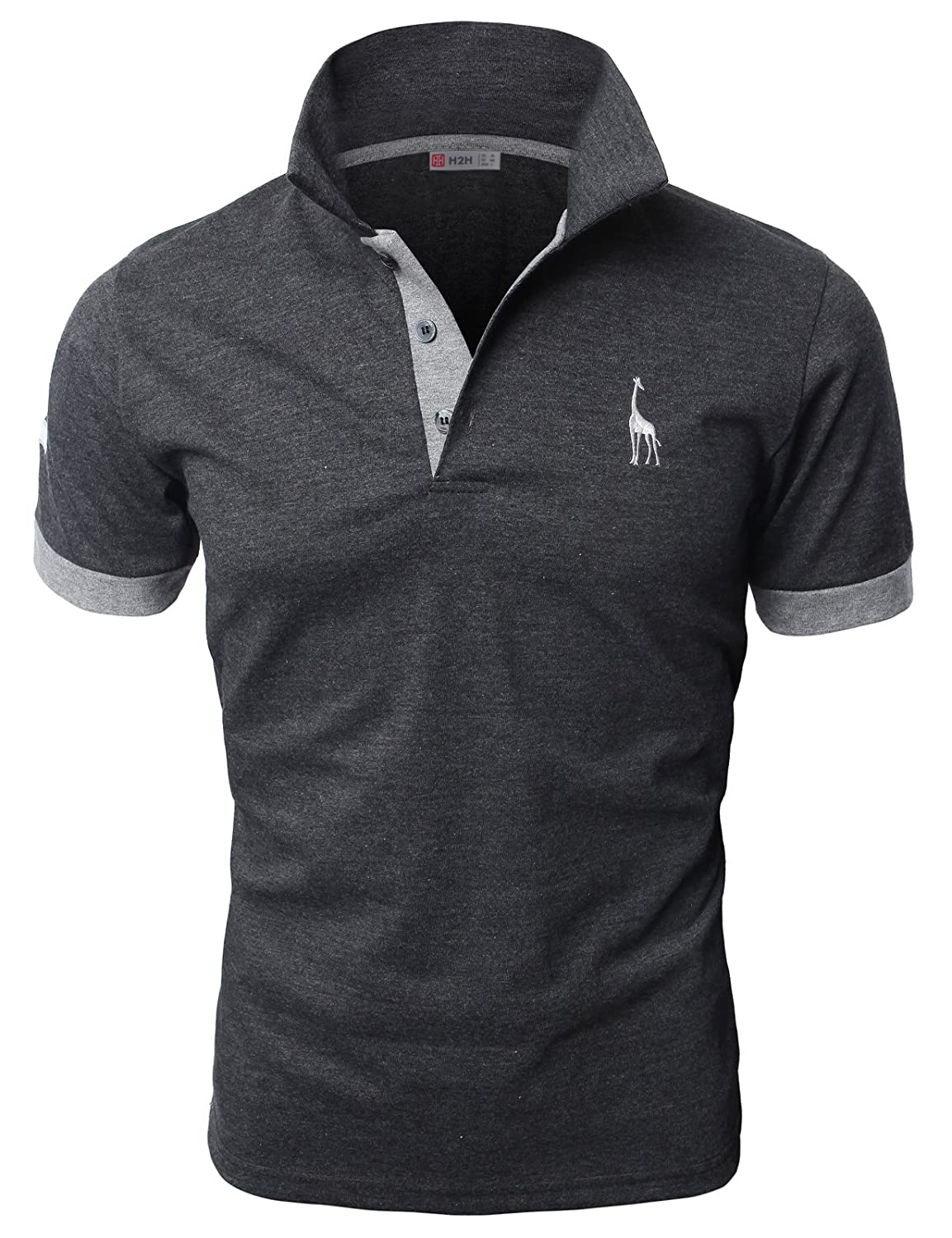 H2h Mens Casual Slim Fit Polo T Shirts Basic Designed With Giraffe