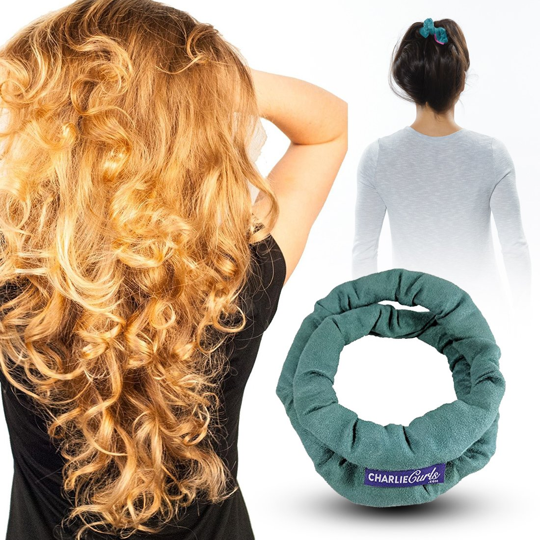 CharlieCurls: On The Go, One-Piece, Easiest ever No Heat Hair Curler (Teal)