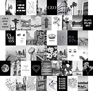 Artivo Black White Wall Collage Kit Aesthetic Pictures 50 Set 4x6, City Chic Wall Decor for Teen Girls, College Dorm Room Decor Photo Collection