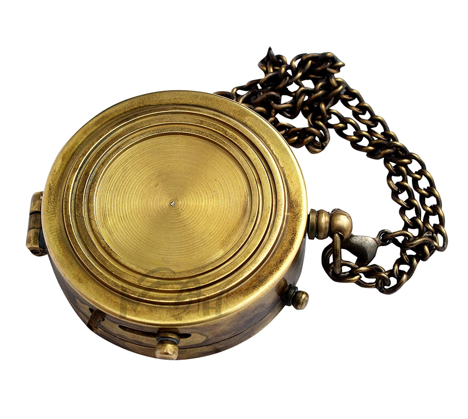 MAH Not All Who Wander are Lost Engraved Brass Compass with Leather Case C-3271 Magnetic Navigational Instrument Pirates Compass