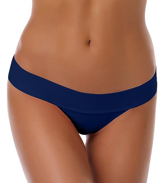 SHEKINI Women's Fold Over Solid Waistband Swimwear Brazilian Thong Bikini  Bottom