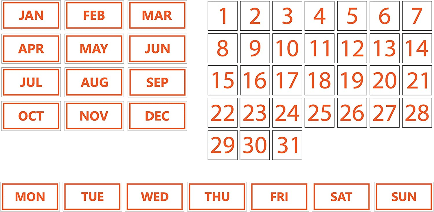 by DCM Solutions Black, 0.5x0.5 Dates, Days of The Week, Months Whiteboard Calendar Magnet Bundle