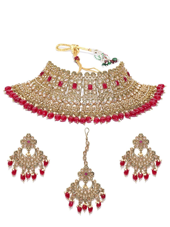 Vishal-Vatika Indian Bollywood Choker Style Gold Plated Polki Necklace Set With Tikka (Red)