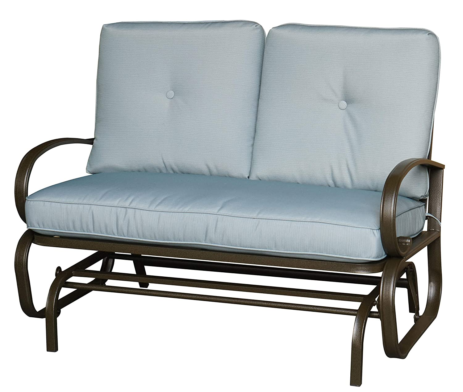Kozyard Cozy Two Rocking Love Seats Glider Swing Bench Rocker for Patio, Yard with Soft Cushion and Sturdy Frame Blue