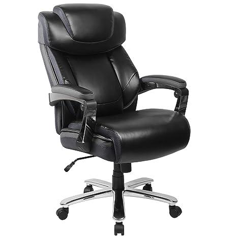 Enjoyable Flash Furniture Hercules Series Big Tall 500 Lb Rated Black Leather Executive Swivel Ergonomic Office Chair With Adjustable Headrest Inzonedesignstudio Interior Chair Design Inzonedesignstudiocom