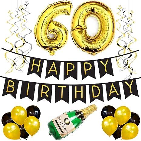 Paquete para Fiesta de Cumpleaños Número 60 – Paquete con Banderín de Feliz Cumpleaños Negro y Dorado, Pompones y Serpentinas- Decoración para ...