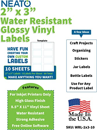 Amazon Com Neato High Gloss Vinyl Labels Inkjet Printer Compatible Label Sheets 2 X3 Labels 10 Sheets 80 Total Stickers Includes Design Software Office Products
