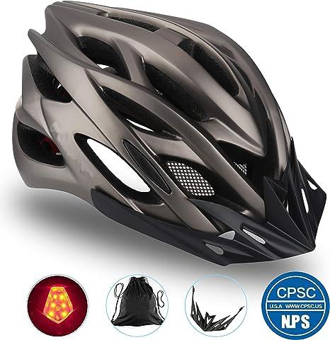 Basecamp Specialized Bike Helmet, Casco para Bicicleta CE Certificado con Accesorios para Casco LED/Visor extraíble ...