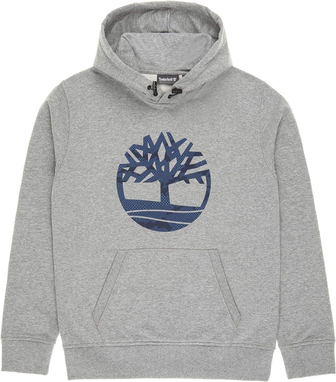 Timberland Overhead Classic Logo Hoodie Felpa con Cappuccio da Uomo Grigio