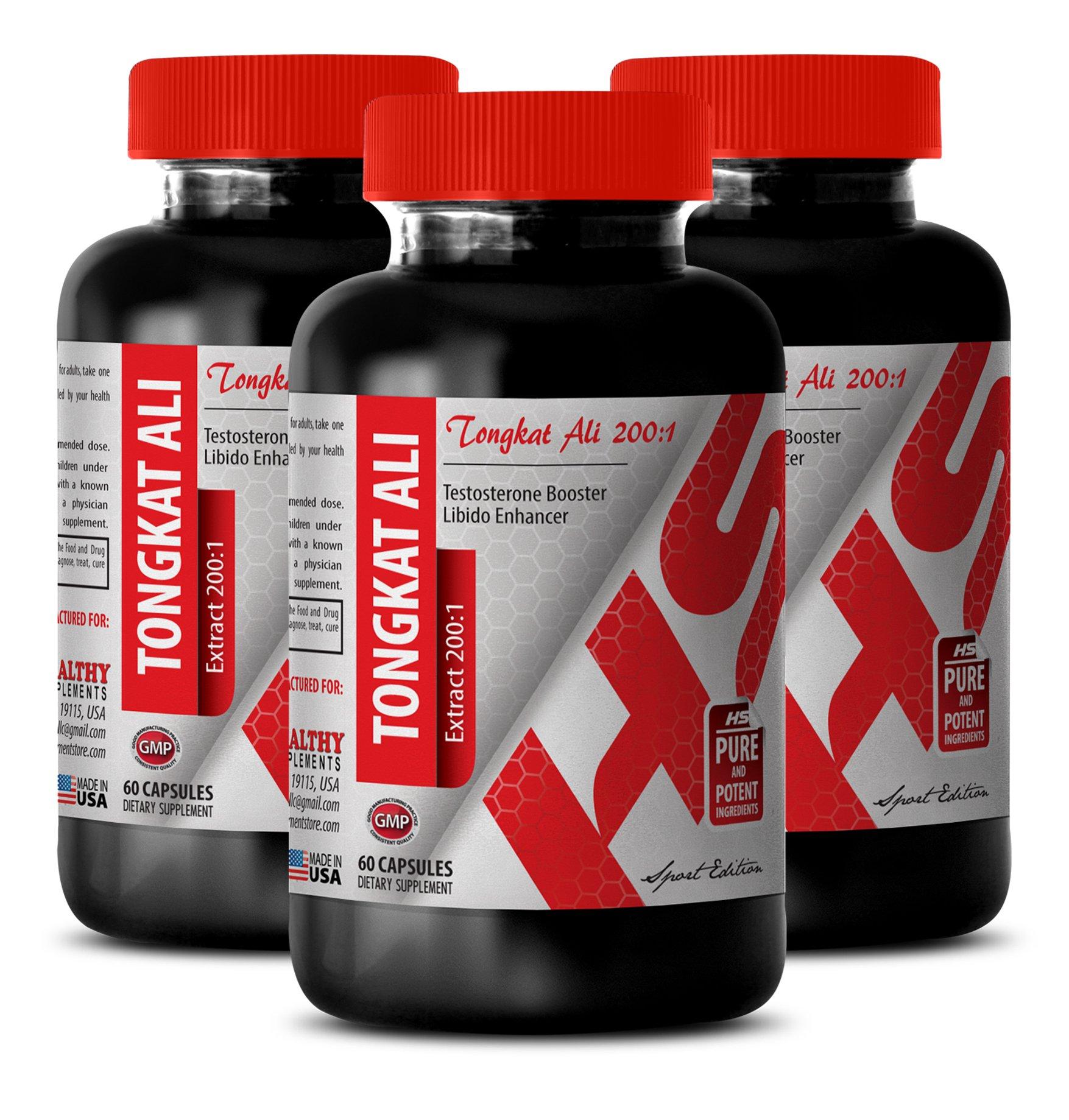 Natural male enhancing pills - TONGKAT ALI ROOT EXTRACT 400Mg - Tongkat Ali pure - 3 Bottles 180 Capsules