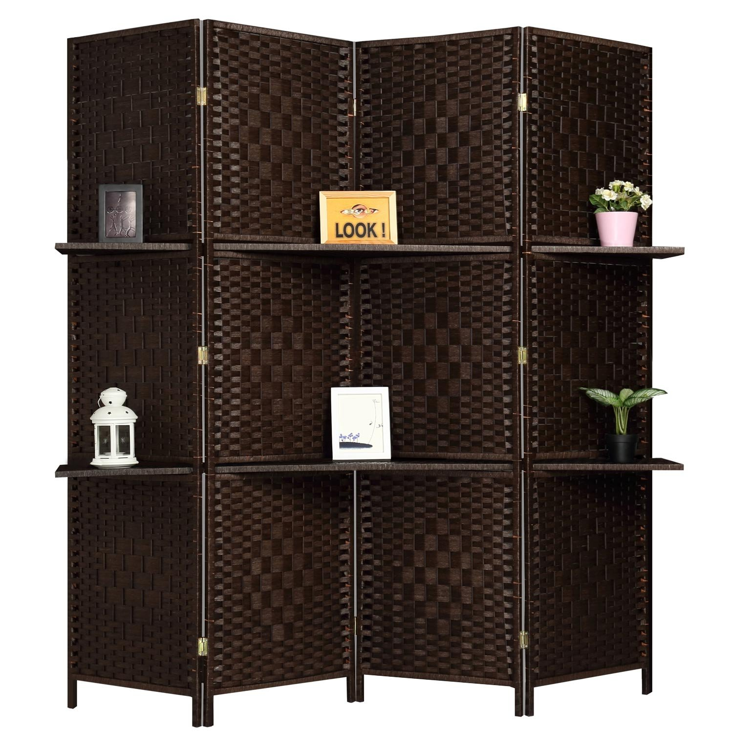 RHF 6 ft Tall (Extra Wide) Diamond Room Divider,Wall divider,Room dividers and folding privacy screens,Partition Wall, With 2 Display Shelves&room divider with shelves-DarkMocha-4 Panels 2 Shelves by Rose Home Fashion