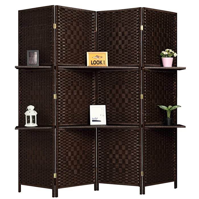 RHF 6 ft Tall (Extra Wide) Diamond Room Divider,Wall divider,Room dividers and folding privacy screens,Partition Wall, With 2 Display Shelves&room divider with shelves-DarkMocha-4 Panels 2 Shelves