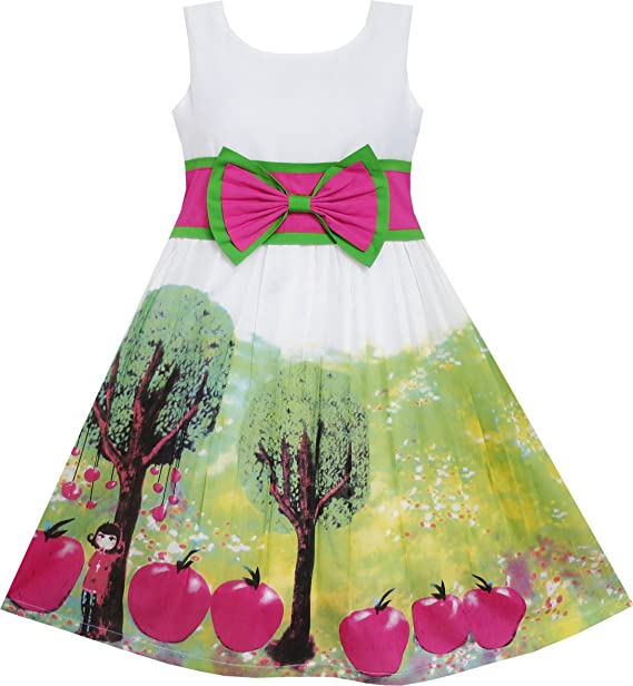 f06a9ea29 Vestido para niña Manzana Árbol Impresión Corbata de moño El Verano ...