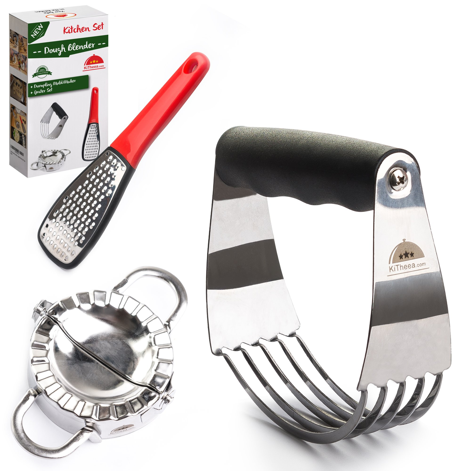 Stainless Steel Pastry Cutter Set - Dough Blender and Biscuit Cutters - Dough Whisk - Perfect as a Pie Crust Cutters or Butter Slicer - Dumpling Ravioli Maker by KiTheea