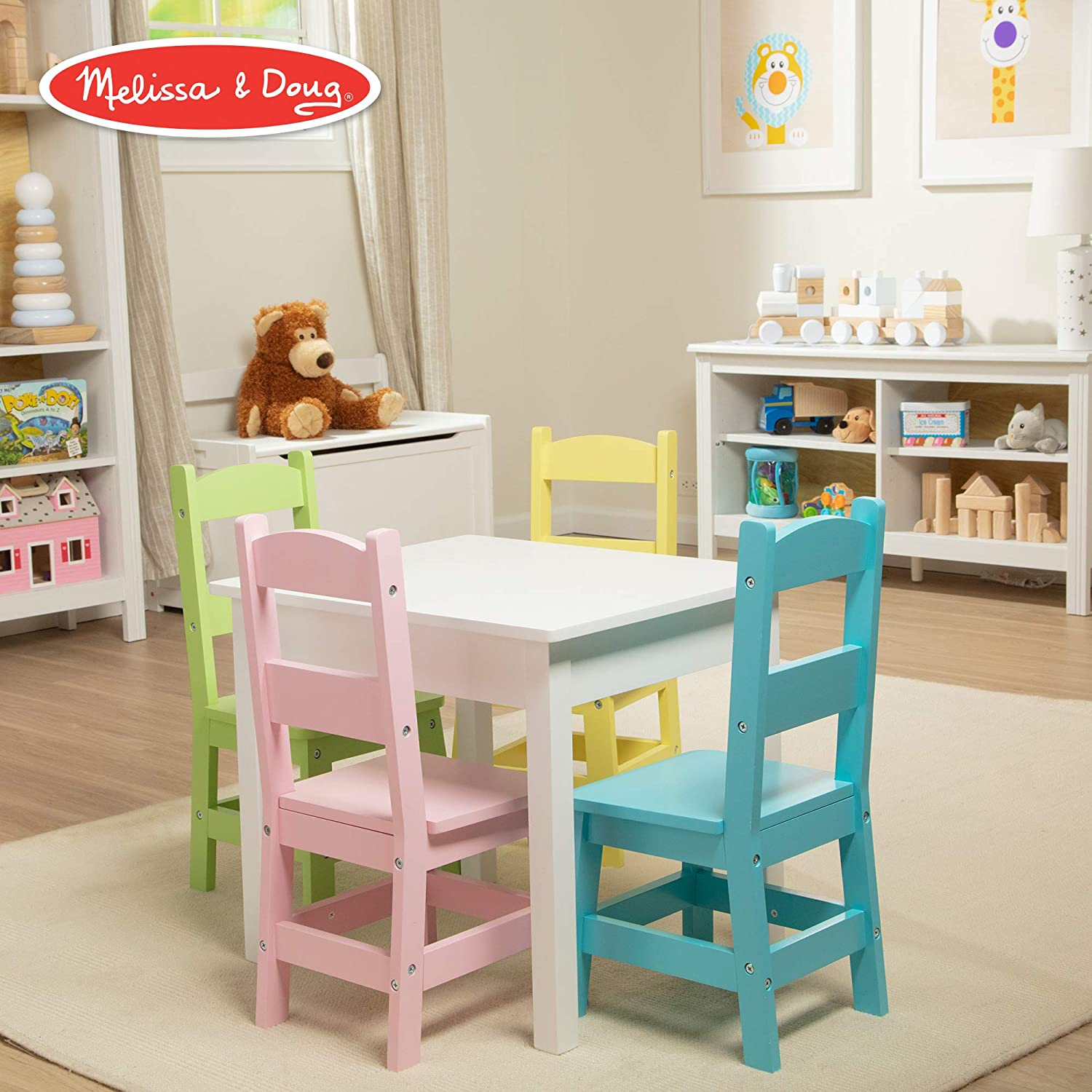 """Melissa & Doug Kids Furniture, Wooden Table & 4 Chairs (White Table, Pastel Pink, Yellow, Green, Blue Chairs, 20.5"""" H x 23.5"""" W x 20"""" L)"""