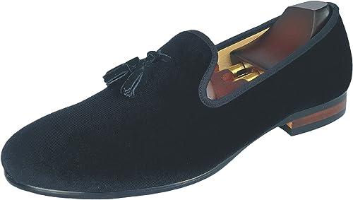 Justar Men's Black Velvet Slippers