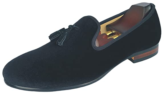 Amazon.com | Justyourstyle Mens Black Velvet Slippers Loafers Dress Shoes with Tassel Flats Slip-on Prom Loafer | Loafers & Slip-Ons