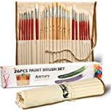 Artify 26 Pcs Paint Brushes Art Set for Acrylic Oil Painting| a Kit of Hog and Nylon Hairs| Include Two Large Size Nylon Brushes and a Carrying Pouch