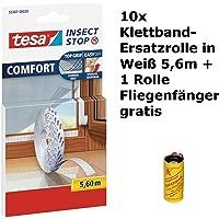 tesa Insect Stop COMFORT Fliegengitter für Fenster/Insektenschutz Klettband-Ersatzrolle in Weiß/5,6 m