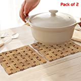 HOKIPO® Square Bamboo Coasters for Home Set of 2 Pan Pot Holder Heat Insulation Pad, Big, 19 x 19 cm
