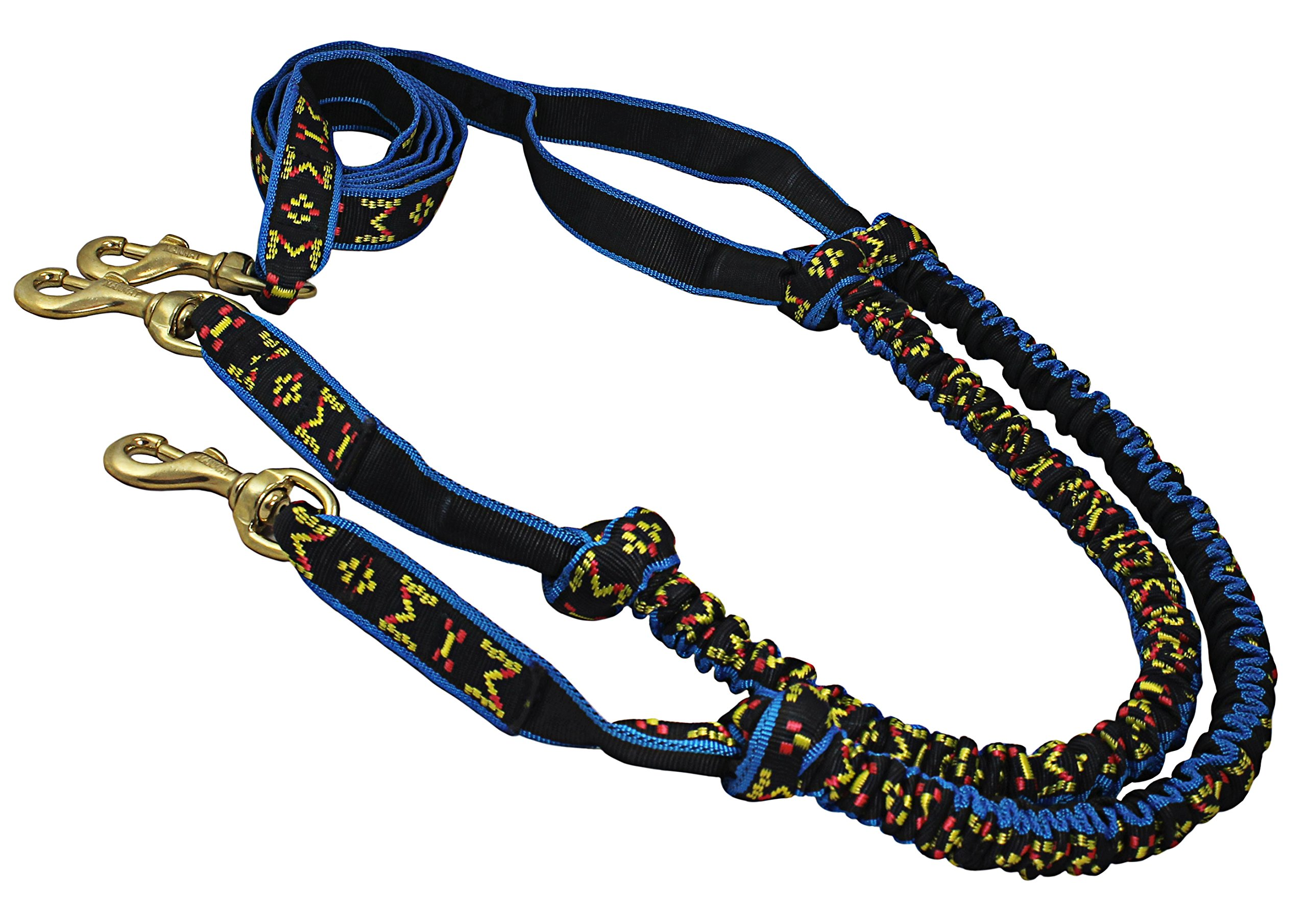 Shock Absorbing Bikejoring Skijoring Bungee Two Dogs Line 1'' Wide 8-Ft Long by Dogs My Love (Image #1)