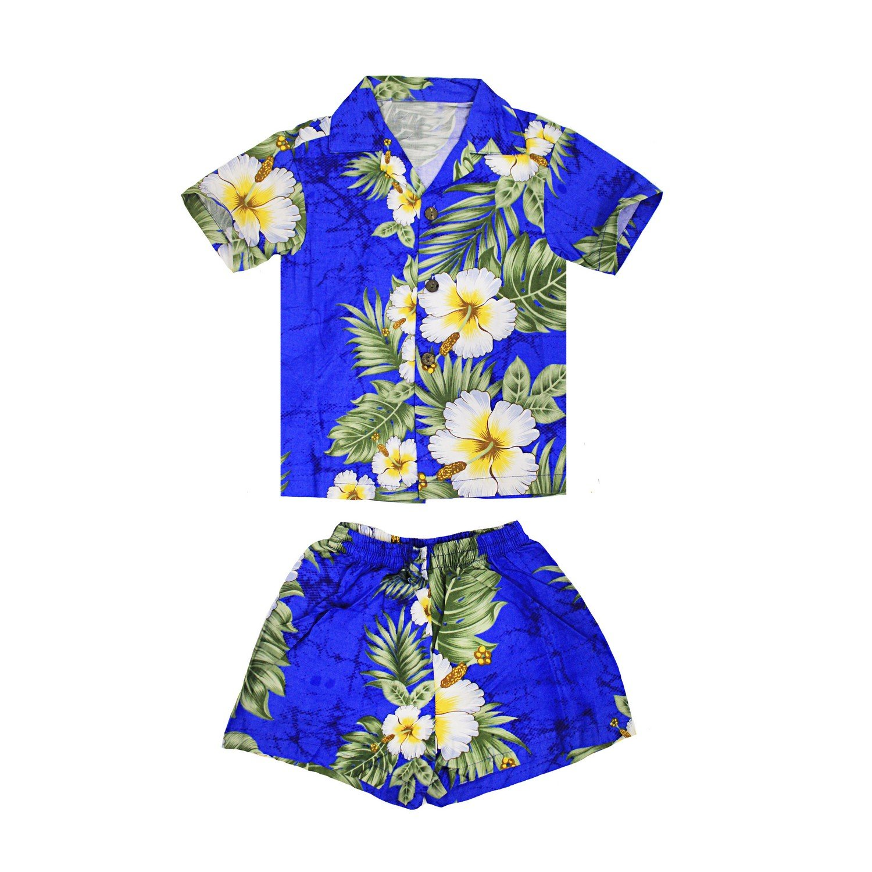Boy Hawaiian Luau Shirt and Shorts Cabana Set in Panel Floral