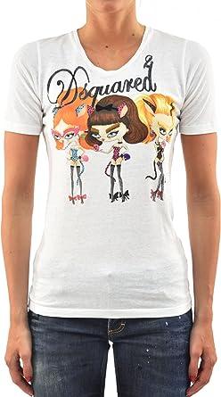 DSQUARED2 Camiseta de mujer blanca de algodón con logotipo de ...