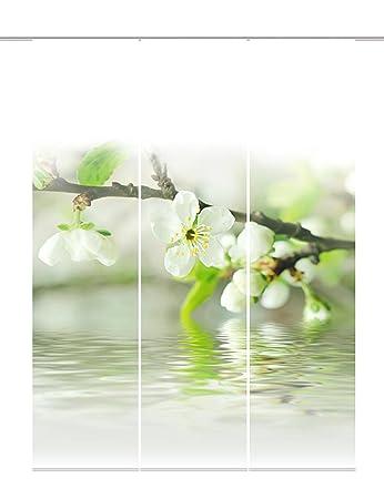 Home Fashion 88714-101 Schiebevorhang 3-er Set Kirschblüte Dekostoff Digitaldruck, 100% Polyester, 245 x 60 cm, weiß