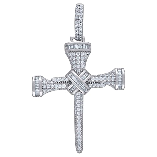 FB Jewels 925 Sterling Silver Unisex CZ Religious Charm Pendant