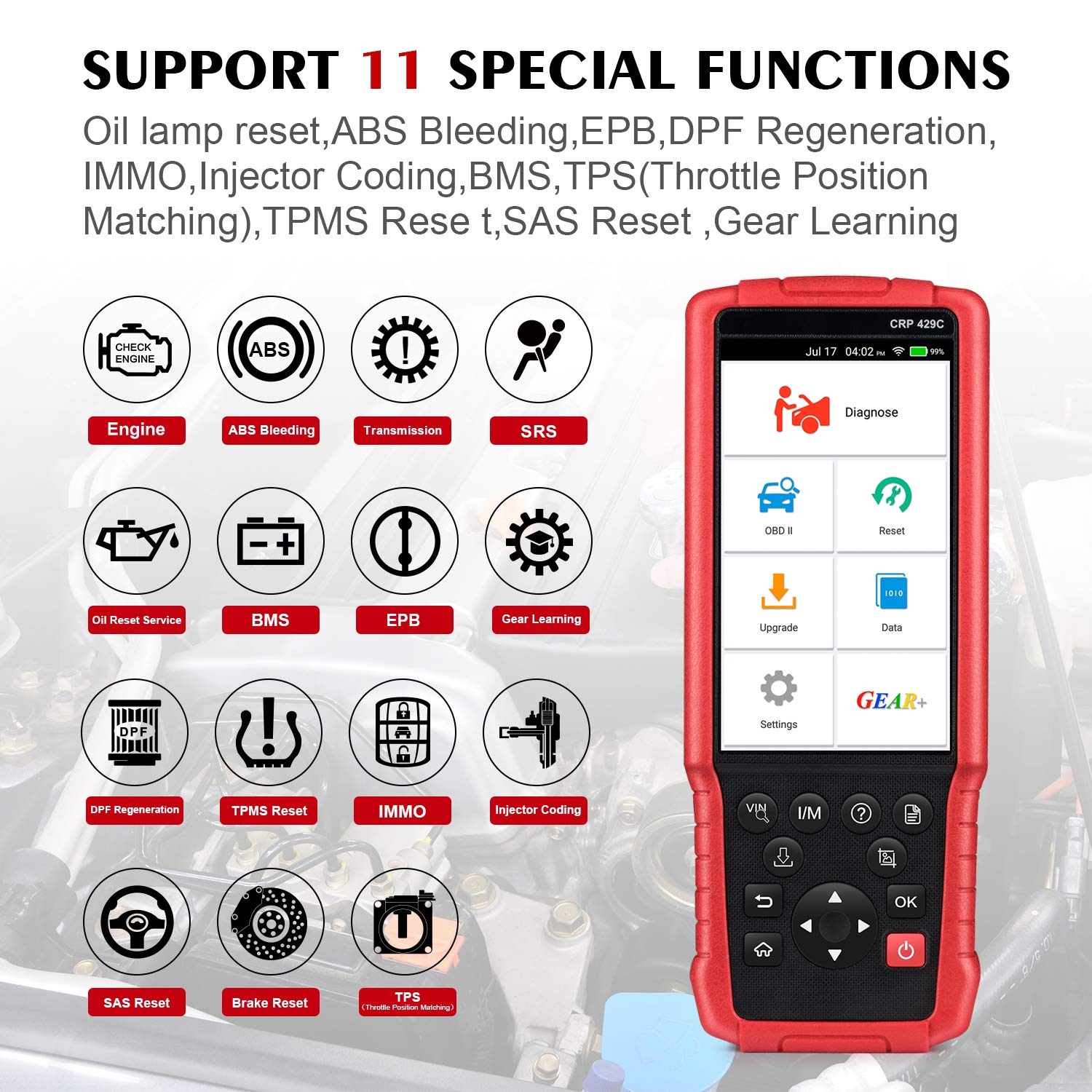LAUNCH CRP429C OBD2 Diagnostic Scan Tool ENG/TCM/ABS/SRS with Oil Lamp Reset,ABS Bleeding,EPB,DPF Regeneration,IMMO,Injector Coding,BMS,TPMS Reset,SAS+EL50448 TPMS As Gift by LAUNCH (Image #3)
