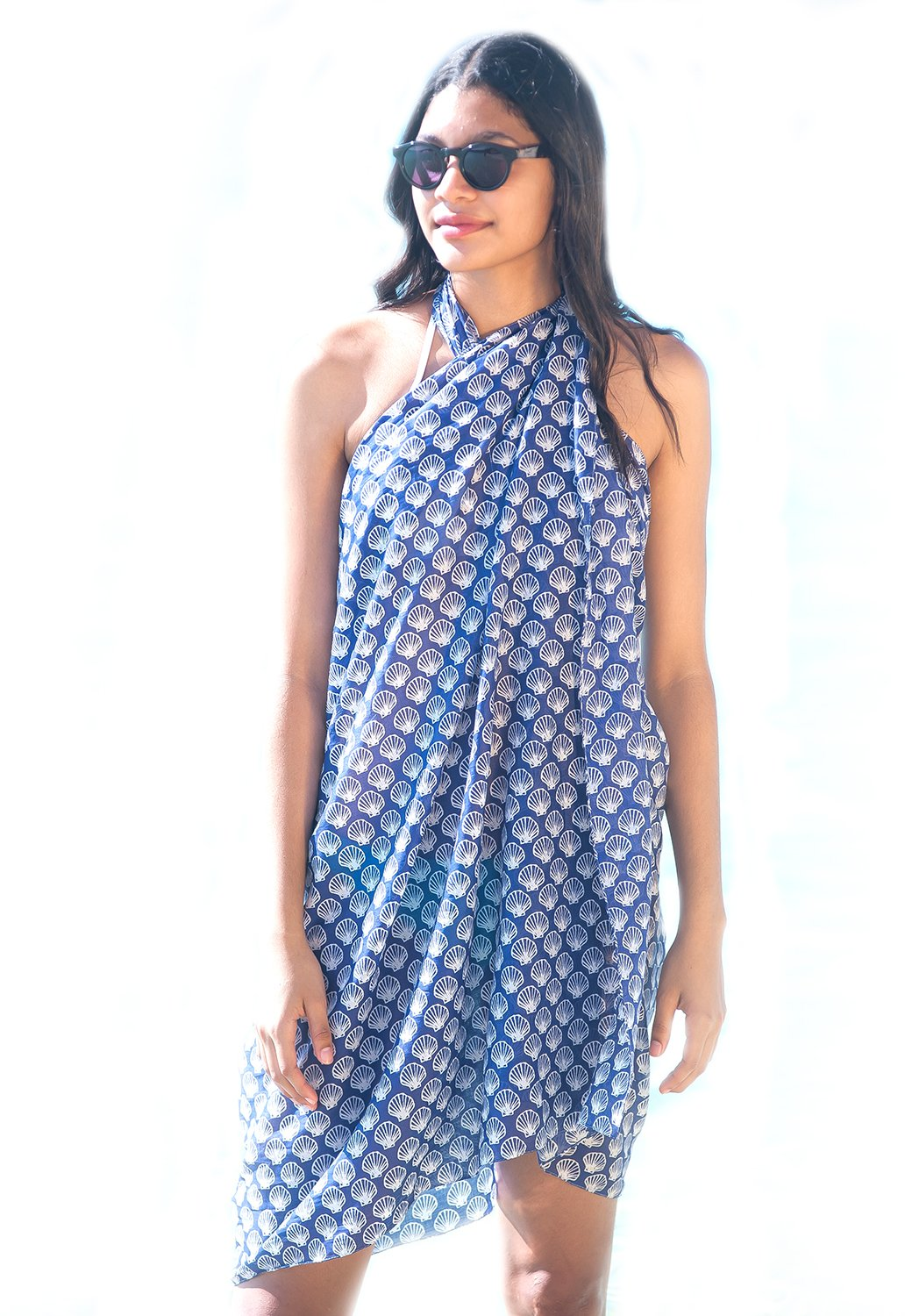 West Indies 100% Pure Cotton Sarong Pareo Swimsuit Bikini Cover-Up Beach Wear Cruise Wear Resort Wear Island Wear Great Gift for Birthdays Brides Mother's Day (Shell French Blue)