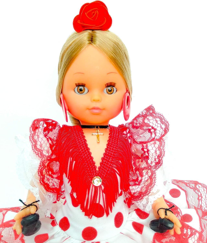 Folk Artesanía Muñeca Serenina Mª Salud 35 cm con Flor colección Andaluza o Flamenca, Nueva y Original. (Rojo Lunar Blanco)