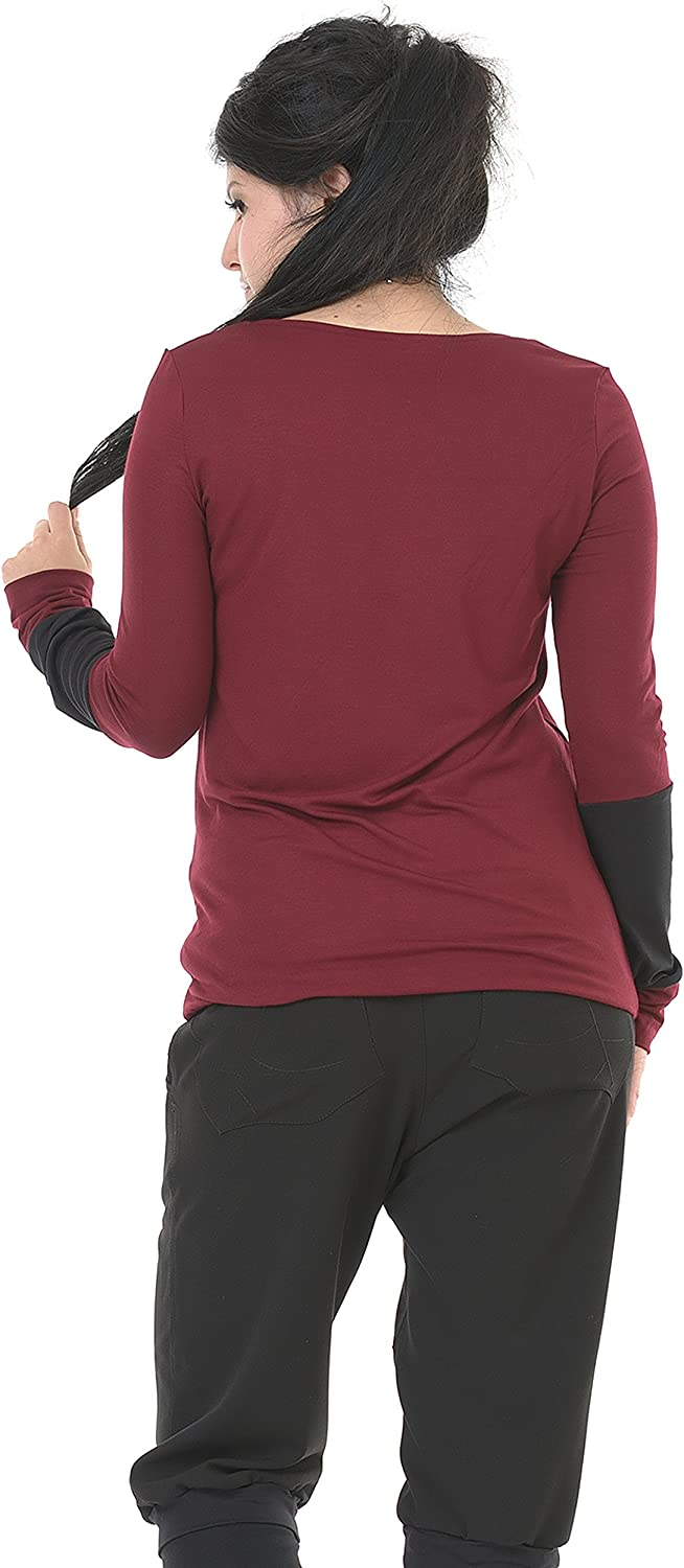 3Elfen Long Sleeve T-Shirt Top Woman Designed, Casual Loose Fitted Ladies Tee with Cuff Style/S - XXL/Gothic Steampunk Clothing Burgundy Black