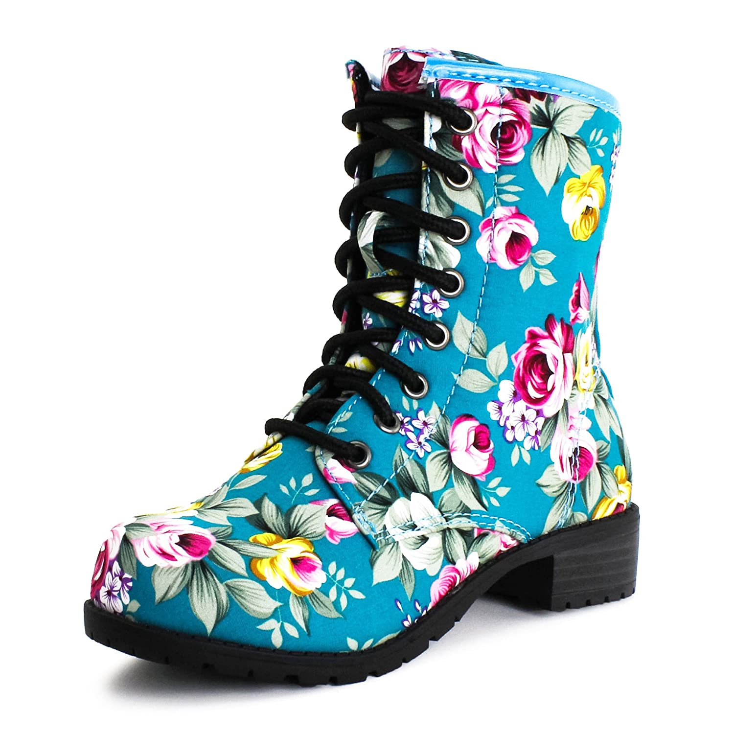 Amazon.com | Four Season Lace up Floral Mid Knee Boot Womens ...