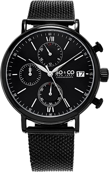 Amazon.com: SO & CO New York Monticello 5266M.3 Mens Chronograph Black Case Stainless Steel Mesh Bracelet Date 5 ATM Quartz Wrist Watch: SO & CO: Watches