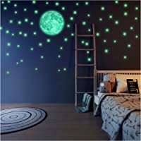 Glow in The Dark Stars and Free Removable Full Moon Wall Stickers 220 adhesive Glowing Star Beautiful Wall Decals for…