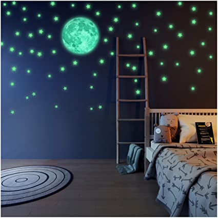 LIDERSTAR - Glow in the Dark Stars and Moon Wall Stickers With Free  Affirmation Card – Luminous wall Decals for Ceiling,Kids Bedroom,  Playroom,College