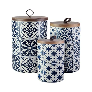 American Atelier 7106-CAN-RB Medallions Canister Set 3-Piece Ceramic Jars in Chic Design With Lids for Cookies, Candy, Coffee, Flour, Sugar, Rice, Pasta, Cereal & More Blue, 5, 6.5, 8 ,