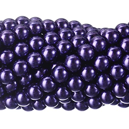 894b15519d4c5 RUBYCA 200Pcs Czech Tiny Satin Luster Glass Pearl Round Beads Jewelry  Making 6mm Amethyst Purple