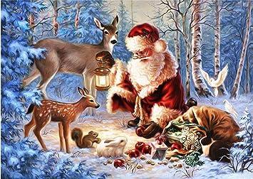 Bilder Weihnachten Tiere.Sunnymi 5d Malerei Diamant Weihnachtsmann Chat Mit Tiere Weihnachten Diy Kreuzstich Kunstharz Dekoration Haus Wohnzimmer 40 30cm