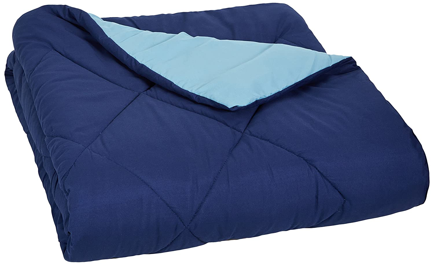 AmazonBasics Reversible Microfiber Comforter - Twin/Twin Extra-Long, Navy Blue