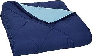 AmazonBasics Reversible Microfiber Comforter - Twin/Twin Extra-Long, Navy Blue